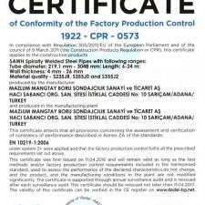 CE certificate EN 10219